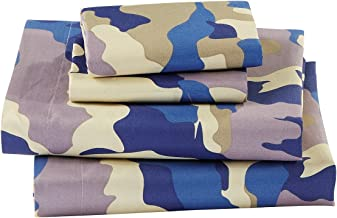 Linen Plus Twin Size 3pc Sheet Set for Teen Kids Camouflage Army Beige Blue Taupe New