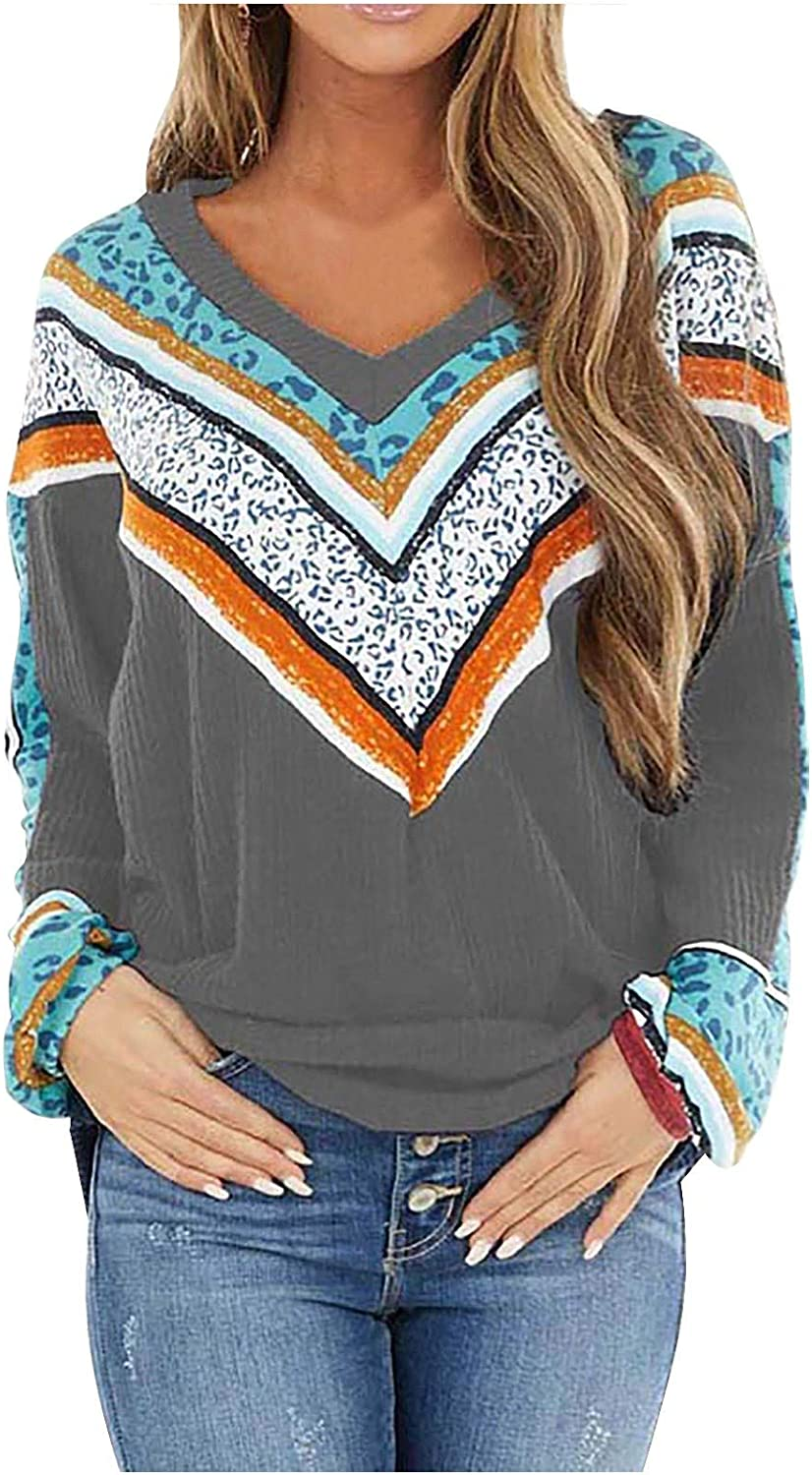 Women's Casual Ethnic Knit Sweater V Neck Loose Pullover Tops Long Sleeve Winter Knitting Tops