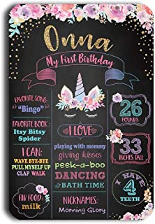 TJ Reusable Easy Clean Metal Tin Unicorn Party Theme My First Birthday Chalkboard Style Sign Wall Decoration Signs 8'' x 12''- Customizable with Liquid Chalk Markers