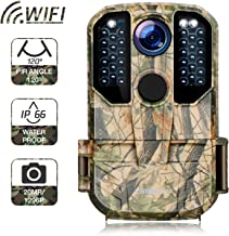 Campark WiFi Trail Camera 20MP 1296P Hunting Game Camera with Night Vision Motion Activated for Outdoor Wildlife Monitoring Waterproof IP66 Remote Control Scouting Cam