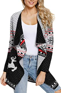 GOSOPIN Women Solid Open Front Long Knited Cardigan Sweater with Pockets