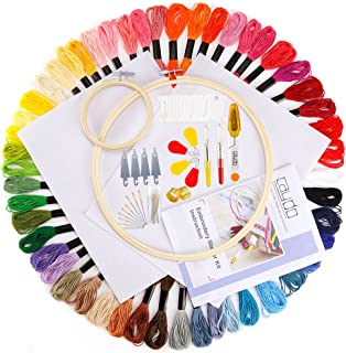 Caydo Embroidery Starter Kit with Operating Instructions and Cross Stitch Tool Kits for Adults and Kids Beginners