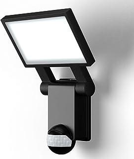 B.K.Licht applique murale noire IP44, détecteur de mouvements & capteur crépusculaire, éclairage extérieur jardin garage t...