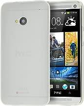 doupi PerfectFit Funda Compatible con HTC One (M7), Tapones de Polvo instalados TPU Ligero Estuche Protección, Blanco