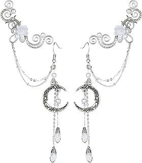 Elven Elf Ear Cuffs,Handcraft Pierced Filigree Wrap Earrings Ear Cuffs for Women Bridal Wedding Flower Moon Jewelry Dangle Drop Threader Tassel Chain