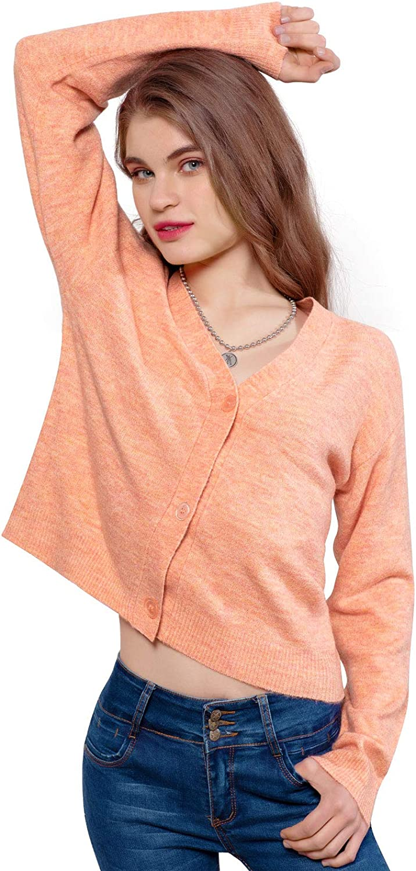DIVASKY Women's Button Down Cardigan Sweaters Lightweight Long Sleeve Cropped Wool Knit Cardigan