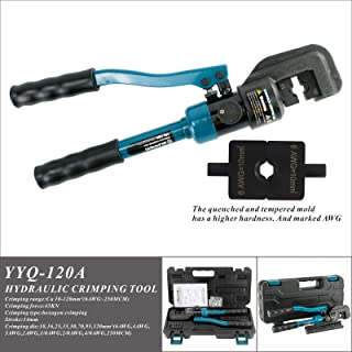 IBOSAD Hydraulic Cable Lug Crimper Tool 6 AWG-250 MCM Electrical Terminal Wire Crimping Plier Kit,marked with AWG
