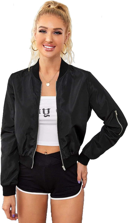 Romwe Women's Classic Solid Biker Jacket Zip up Crop Bomber Jacket Coat