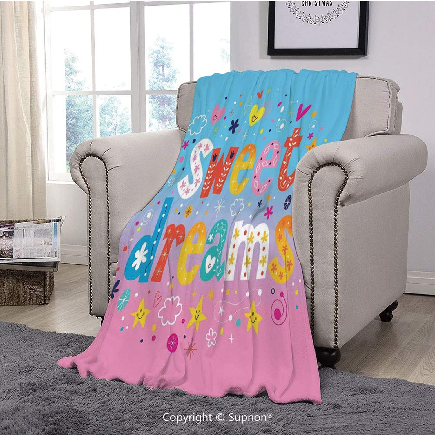 Printing Blanket Coral Plush Super Soft Decorative Throw Blanket,Kids,Sweet Dreams colorful Ombre Stars Flowers Clouds Hearts Funny Letters Baby Toddlers Printed Art(59  x 59 )