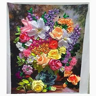 Egoshop Silk Ribbon Embroidery Kit Yixiang DIY Wall Decor Silk Ribbon Embroidery Kit With English Instruction