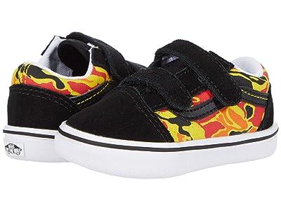Vans Kids ComfyCush Old Skool V (Infant/Toddler) ((Flame Camo) Black/True White) Boys Shoes