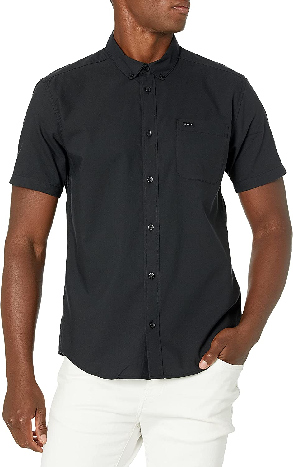 RVCA Men's Slim Fit Short Sleeve Oxford Stretch Woven Button Up Shirt