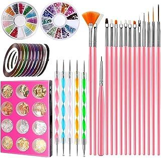 Angenil - Juego de 15 pinceles de pintura acrílica para uñas de dibujo de uñas, kit de herramientas para decorar uñas, cin...