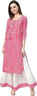 Ishin Women's Pure Cotton Pink & White Gota Patti Embellished A-Line Kurta Skirt Set