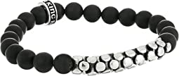 King Baby Studio - 8mm Onyx Bead Bracelet with Silver Snake Link Bridge