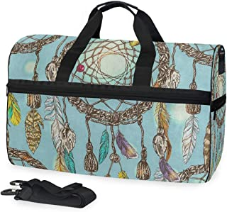 Travel Tote Luggage Weekender Duffle Bag, Beautiful Bird Feather Dream Catcher Large Canvas shoulder bag with Shoe Compartment