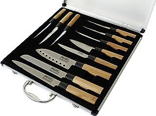 Pradel Excellence - KN2009-11 - Valise de 5 Couteaux de Cuisine + 6 Steaks - Manche Bambou