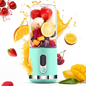 Portable Blender, Togala A8 Personal Blender Juicer Cup, 4000mAh Type-C Rechargeable, Mini Handheld Blender with 6 Blades, Mixer for Fruit Shakes and Smoothies, Portable Juicer for Home Outdoor, Blue