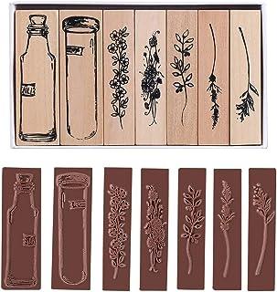 GORGECRAFT 7pcs Vintage Wooden Rubber Stamps Flower Stamps DIY Scrapbooking Card Making Decoration