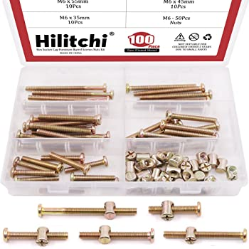 Furniture Barrel Screws Zinc Plated Metric Hex Drive Socket Cap Bolt Nuts Assortment Kit for Furniture Parts Cots Beds Crib and Chairs Bookcase Hardware,100pcs M6x40//50//60//70//80mm