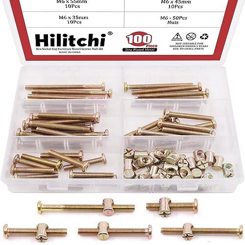 hilitchi 100-pcs m6 x 35/45 / 55/65 / 75mm zinc