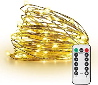 JMEXSUSS 8 Modes Remote Control 200 LED 65.6ft Battery Operated Waterproof Dimmable Fairy String Copper Wire Lights for Christmas, Bedroom, Patio, Wedding, Party, Warm White, UL588 Approved