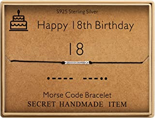 Happy 18th Birthday Gifts for Girls Morse Code Bracelet Sterling Silver Bracelet Birthday Jewelry 18 Year Old Gifts for Her