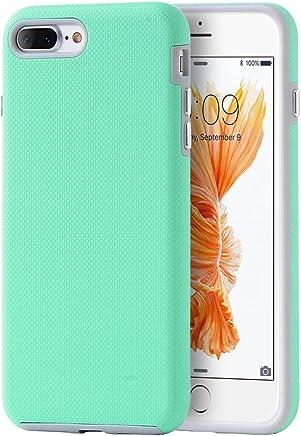 DreamWireless Funda Doble Protector de Uso Rudo Antideslizante con Botones para iPhone 7 Plus/iPhone 8 Plus, Color Menta