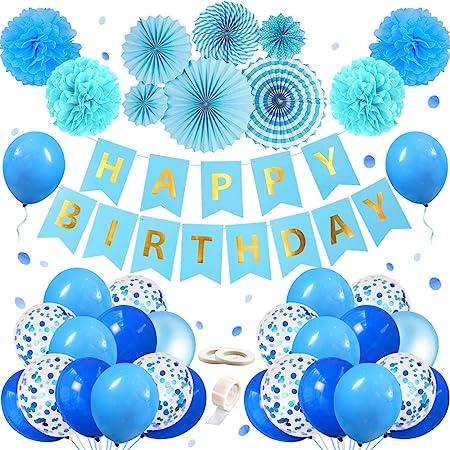 Mmtx 56 Stück Geburtstag Deko Für Junge Blaue Happy Birthday Girlande Folienballon Latex Ballons Blau Konfetti Luftballons Pom Poms Helium Herz Stern Folienballon Ballon Für Babyparty Babyshower Spielzeug