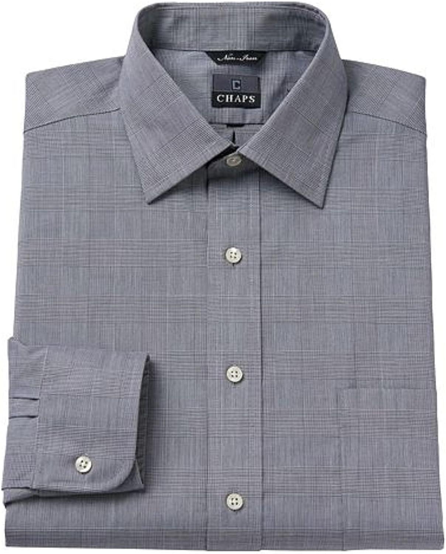Chaps Mens Classic Fit 100% Cotton Non-Iron Dress Shirt Grey Pattern