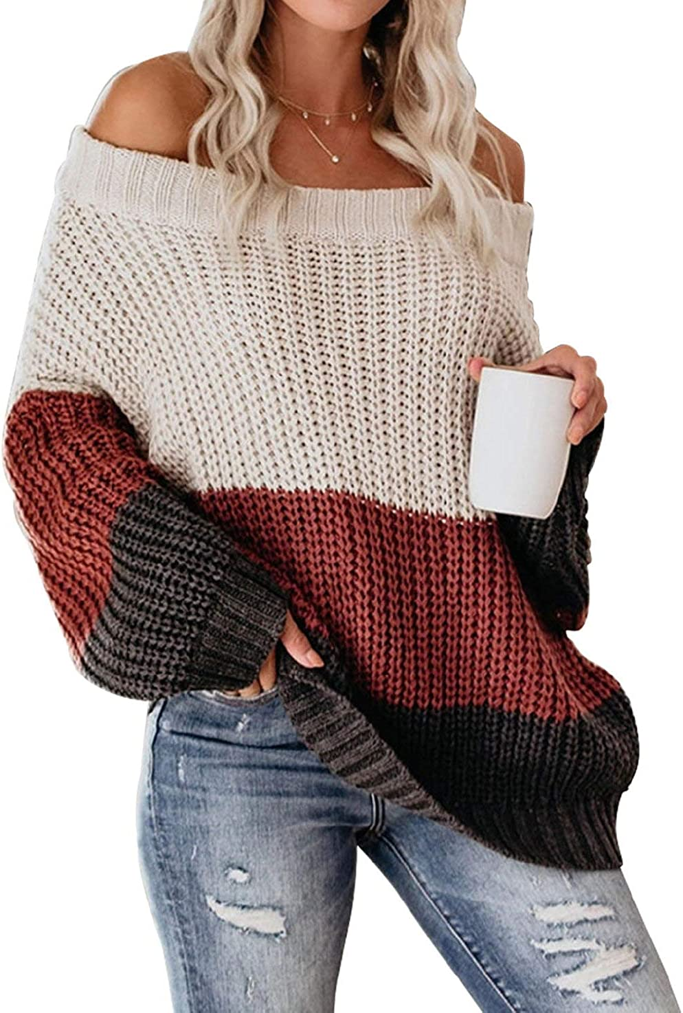 low-pricing VIMPUNEC Womens Oversized Sweater Color The P Off Shoulder Block Directly managed store