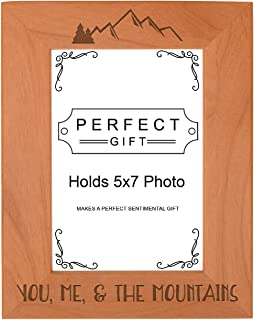 ThisWear Mountain Gift You Me & The Mountains Frame Love Photo Frame Wood Engraved 5x7 Portrait Picture Frame
