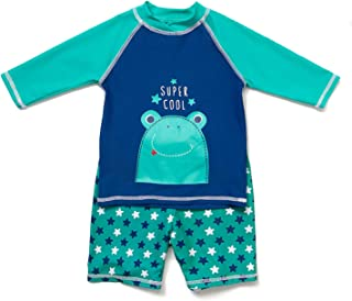 Toddler Boys Rashguards UPF 50+ Sun Protection Two Pieces Swimsuit with Sun Cap
