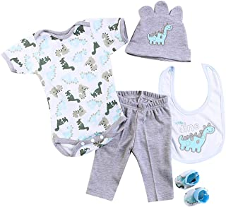 """HUADOLL Reborn Baby Dolls Boy Clothes 22 inch Gray Dinosaur Outfit Accessories 5 pcs Sets Fit 20-22"""" Newborn Dolls Clothes"""