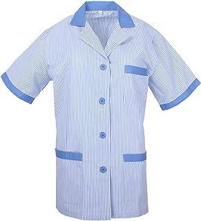 MISEMIYA - Casaca Mujer Cuello Solapa Raya Uniforme ESTÉTICA Médico Enfermera Dentista Limpieza Veterinaria SANIDAD HOSTERERÍA Ref:T820