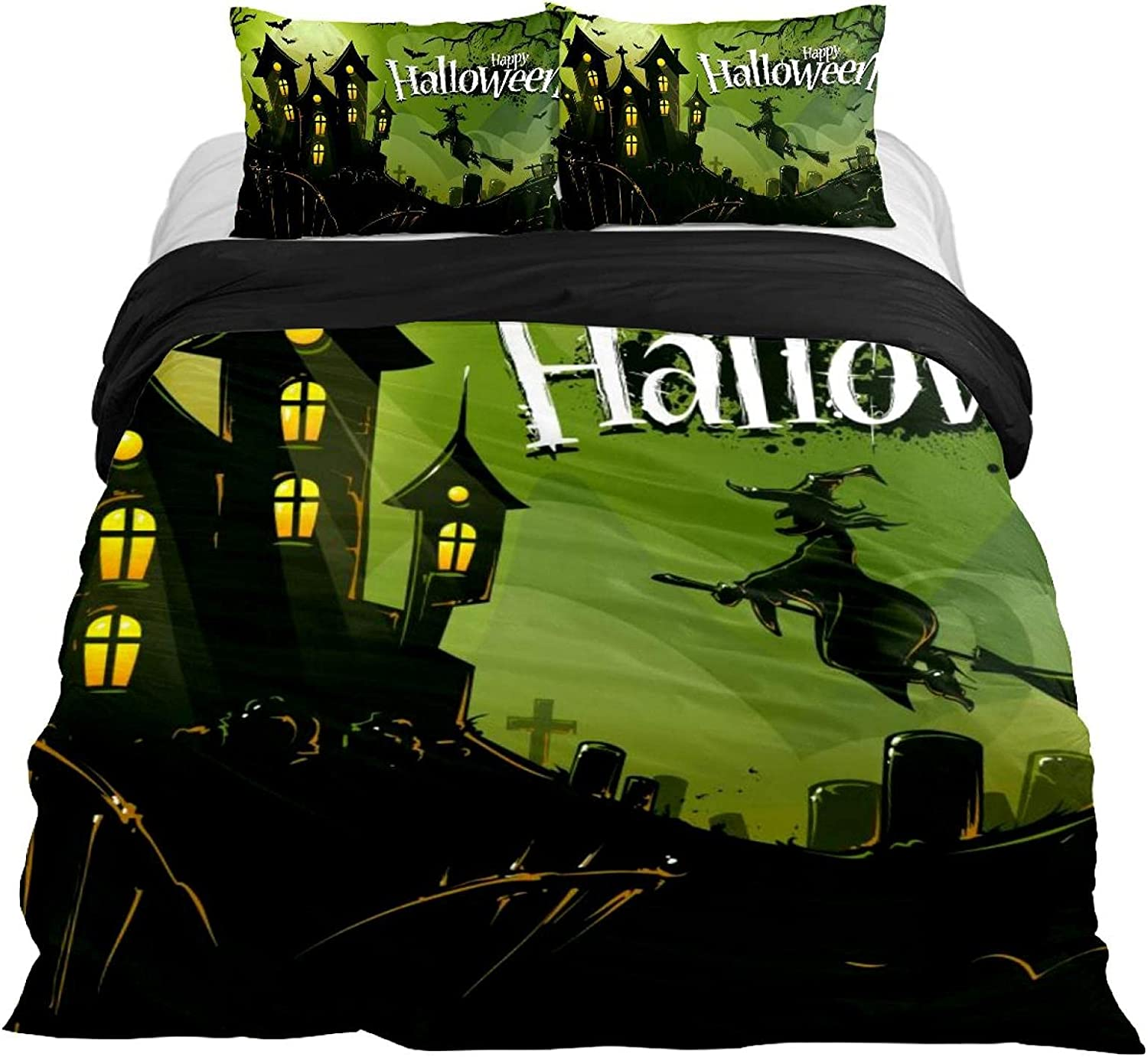 Genuine Free Shipping Dragon Sword 3PCS Bed Online limited product Sheet Set Halloween Witch Flying to Castle