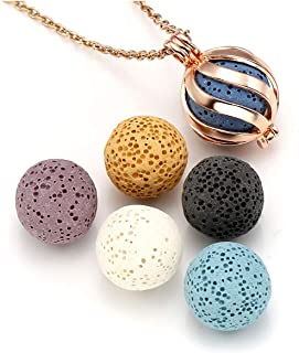 Top Plaza Lava Rock Stone Aromatherapy Essential Oil Diffuser Necklace Fashion Twisted Ball Locket Pendant With 6 Lava Stone Balls - Rose Gold