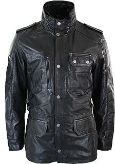 Aviatrix Mens 3/4 Tailored Fit Safari Parka Jacket Genuine Real Leather Military Black