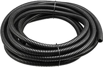 uxcell Corrugated Tube Conduit PP Polyethylene Tubing Flexible Pipe Hose Black 7mm Inner Dia 10mm Outer Dia. 4.6M Long