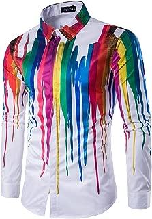 Mens Geek Psychedelic Splash-Ink Printed Slim Fit Long Sleeve Dress Shirts