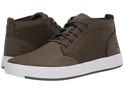 Timberland Davis Square Leather and Fabric Chukka (Dark Green Nubuck) Men