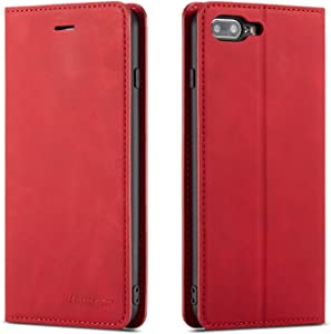 QLTYPRI iPhone 7 Plus 8 Plus Case, Premium PU Leather Cover TPU Bumper with Card Holder Kickstand Hidden Magnetic Adsorption Shockproof Flip Wallet Case for iPhone 7 Plus 8 Plus - Red