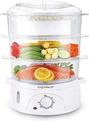 Aigostar Fitfoodie 30CFO - Cuiseur vapeur électrique 0% BPA. Puissance de 800W, minuterie, 3 niveaux indépendants de ...