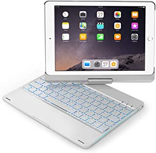 Keyboard Case Compatible with iPad 2017(5th Gen)/2018 New iPad(6th Gen)/Air/Air2/iPad Pro 9.7-360°Rotating Back Cover-Aluminum BT/Wireless Keyboard,7 Colors Backlit (Only Compatible 9.7