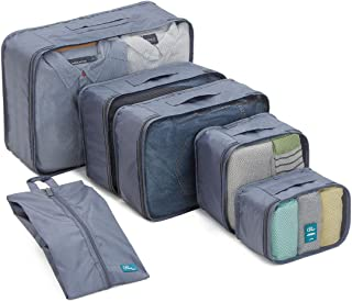 6 Set Packing Cubes/Travel Cubes - Travel Organizers with Shoe Bag-Gray