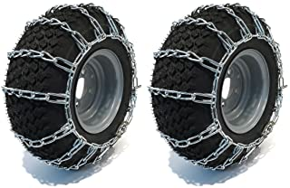 The ROP Shop 2 Link TIRE Chains 20x10.00-10 20-10-10 20x10x10 for Tractor Rider Snowblower