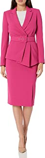 Women's Belted Jacket with Pencil Skirt Suit