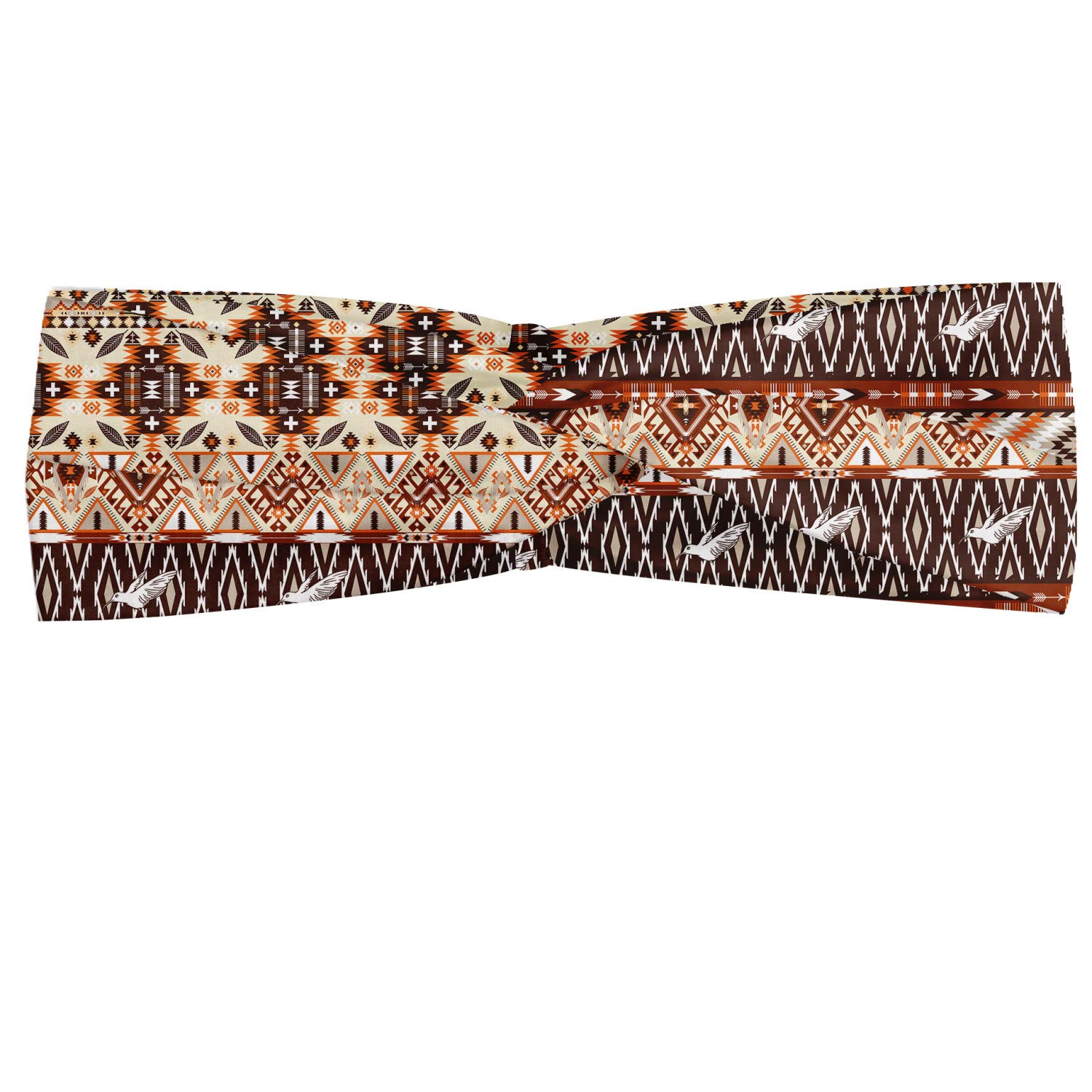 Ambesonne Tribal Headband, Indigenous Art Horizontal Borders with Flying Birds and Geometric Elements, Elastic and Soft Women's Bandana for Sports and Everyday Use, Orange Brown Beige
