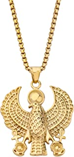 BEKECH Egyptian Jewelry for Women Egyptian Horus Eagle Pendant Necklace Ankh Cross Egyptian Symbol of Protection Charm Gif...