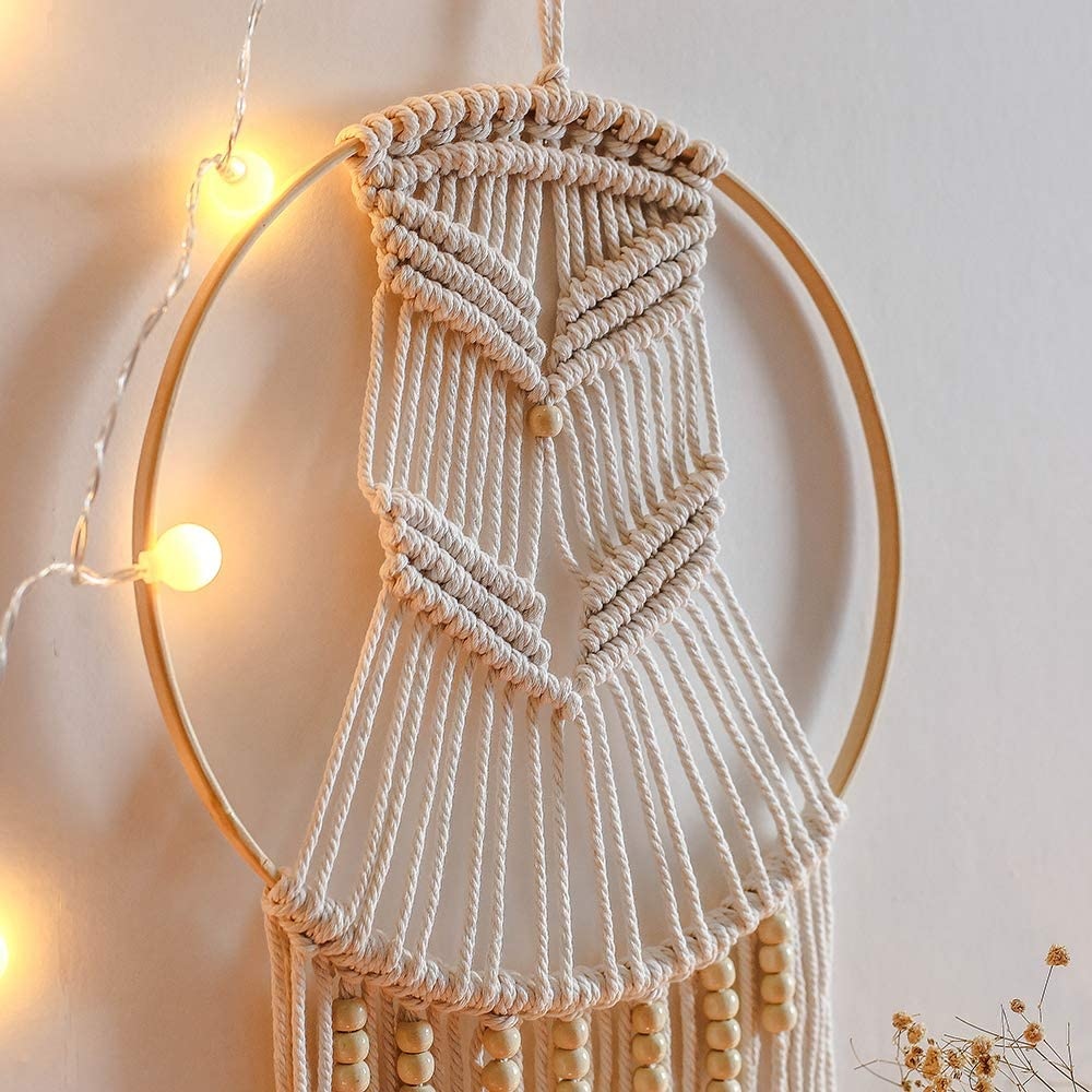 Mond SHINY WENDY Wandbehang Tapisserie Handgemacht Gewebt Traumf/änger Boho Wandteppich Hochzeit Home Schlafzimmer Wanddekoration